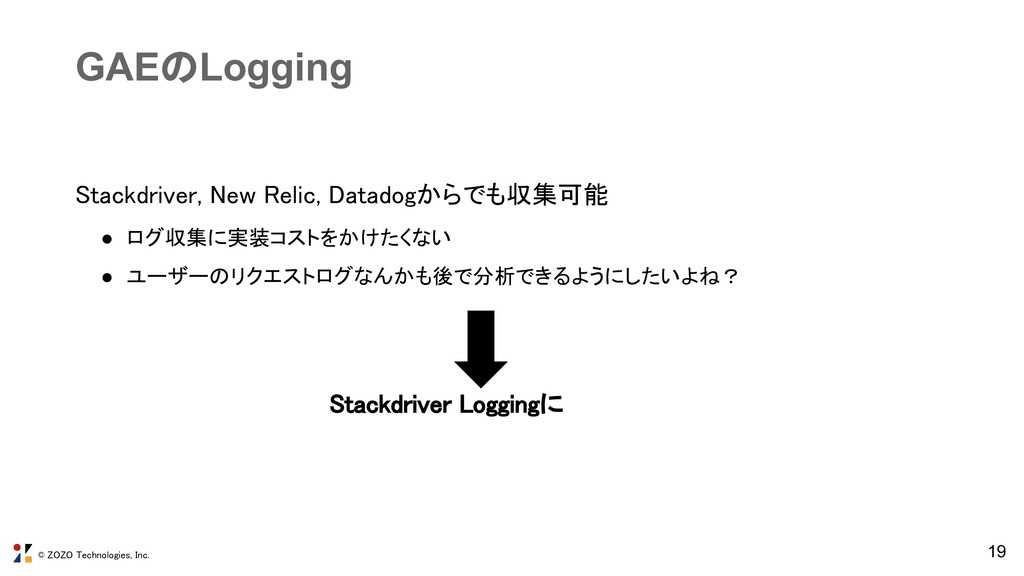 © ZOZO Technologies, Inc. 19 GAEのLogging Stackd...
