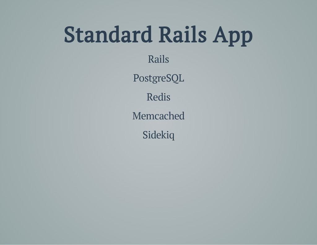 Standard Rails App Rails PostgreSQL Redis Memca...
