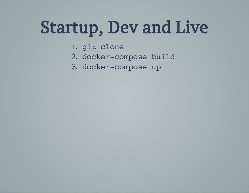 Startup, Dev and Live 1. g i t c l o n e 2. d o...