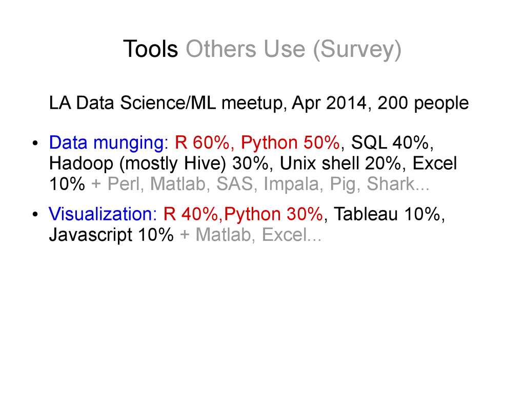 Tools Others Use (Survey) LA Data Science/ML me...