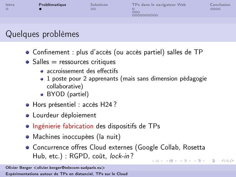 Intro Problématique Solutions TPs dans le navig...