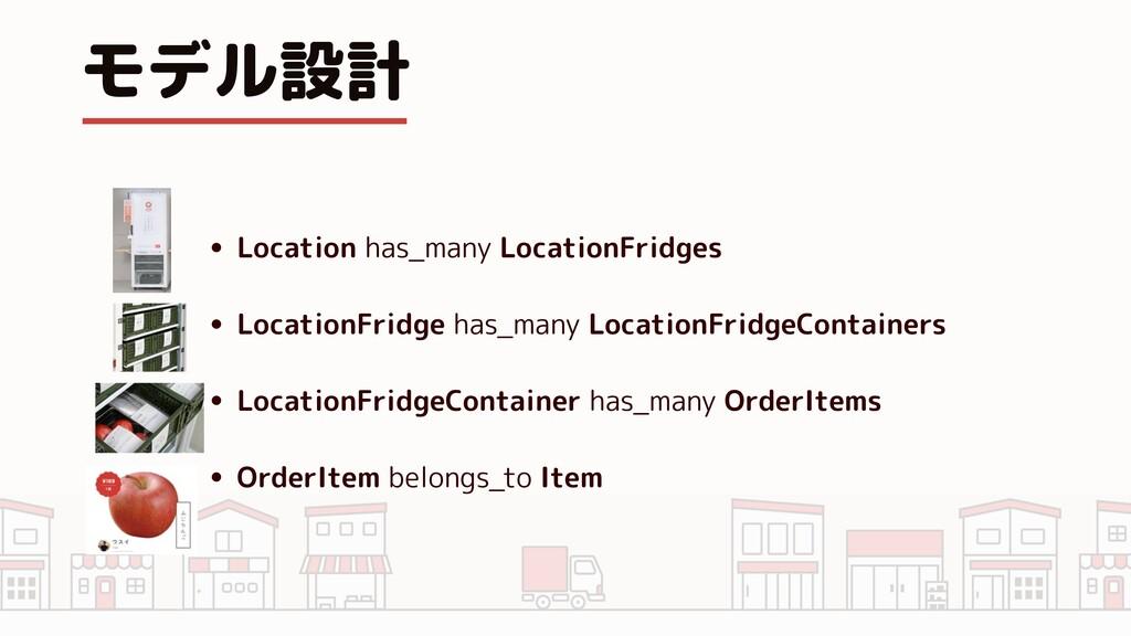 モデル設計 • Location has_many LocationFridges • Loc...