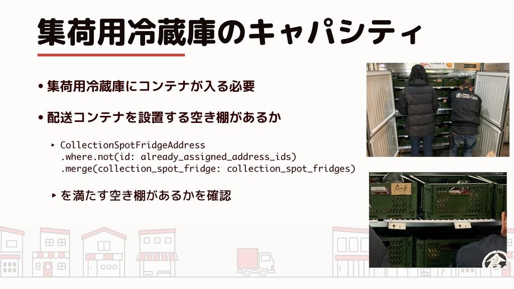 集荷用冷蔵庫のキャパシティ •集荷用冷蔵庫にコンテナが入る必要 •配送コンテナを設置する空き棚...