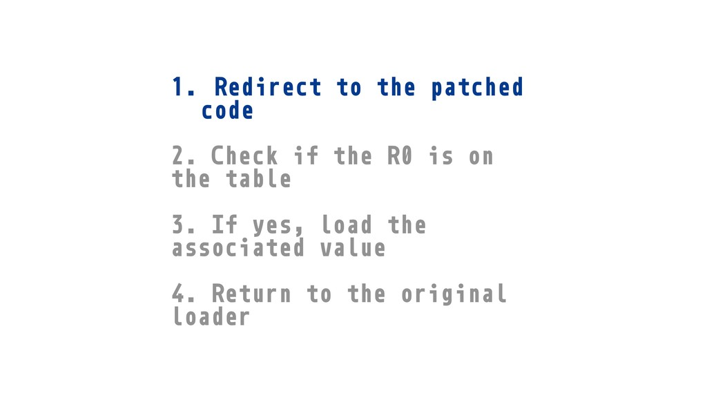 1. Redirect to the patched code 2. Check if the...