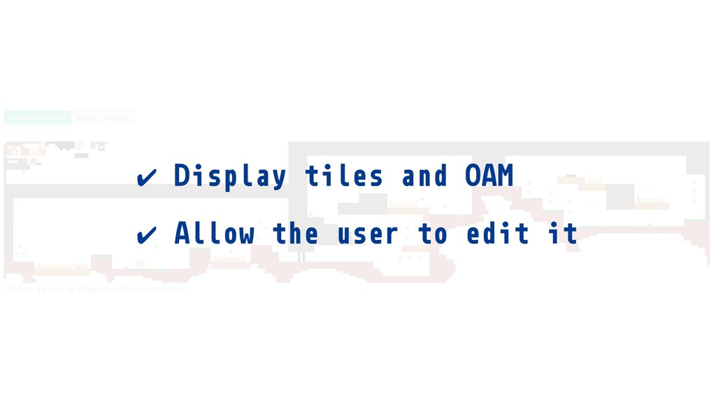 ✔ Display tiles and OAM ✔ Allow the user to edi...