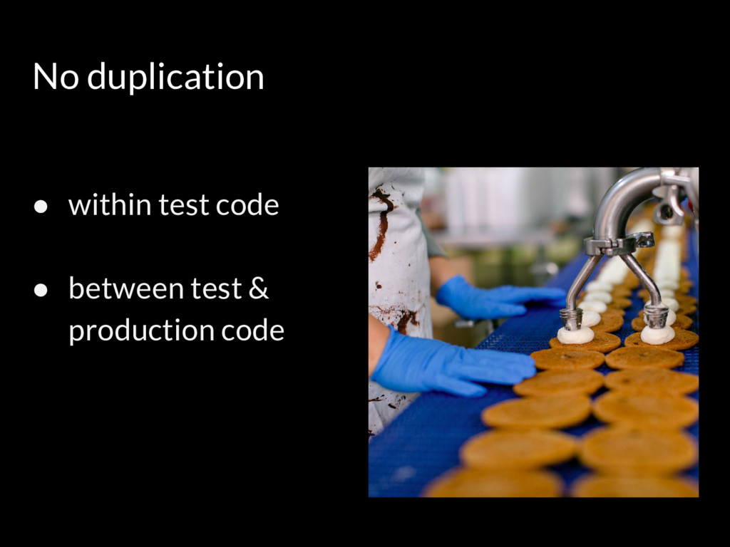 No duplication ● within test code ● between tes...