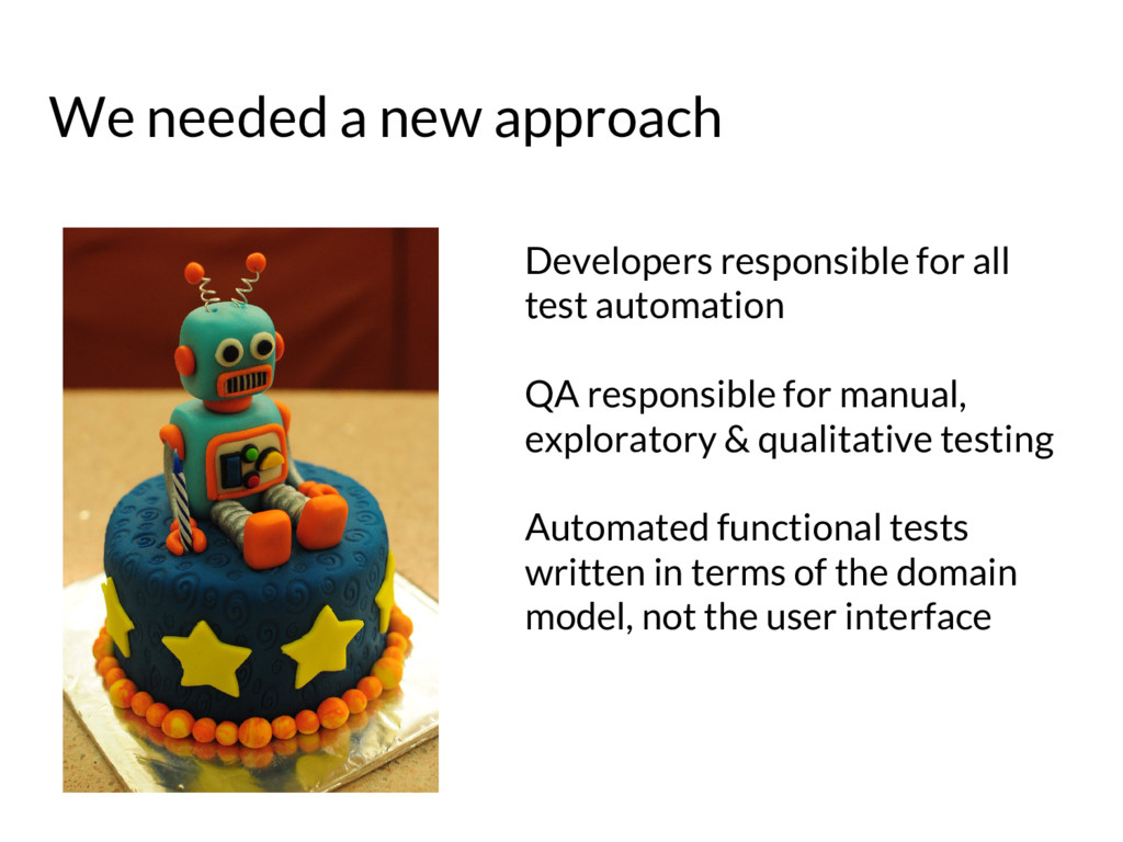 We needed a new approach Developers responsible...