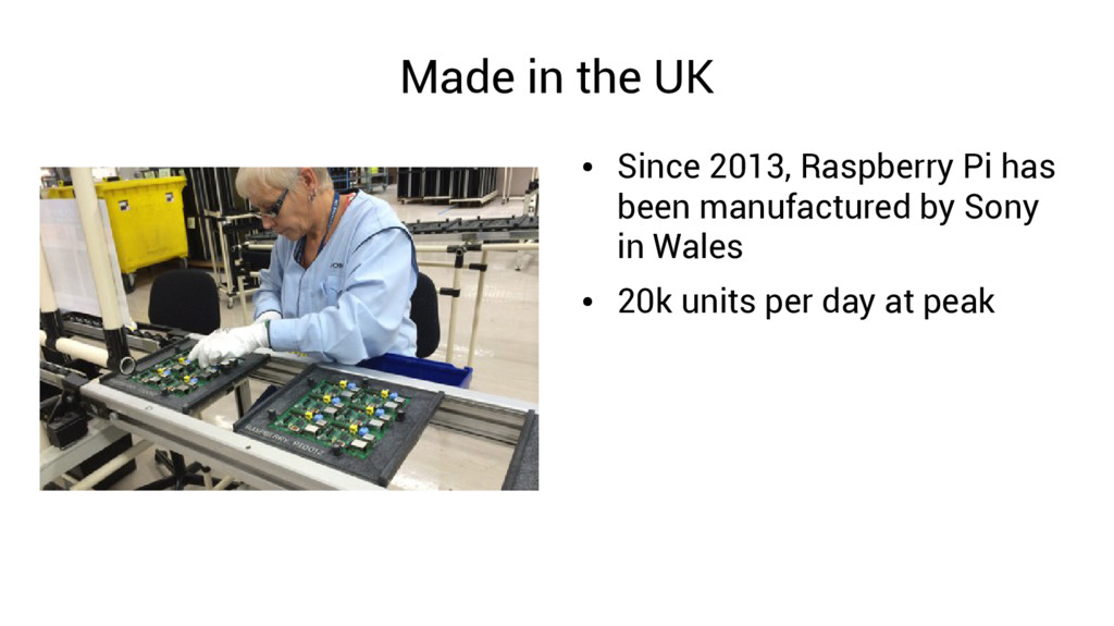Made in the UK ● Since 2013, Raspberry Pi has b...