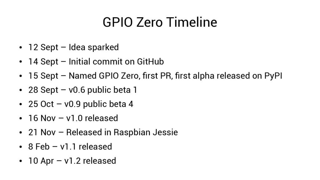 GPIO Zero Timeline ● 12 Sept – Idea sparked ● 1...