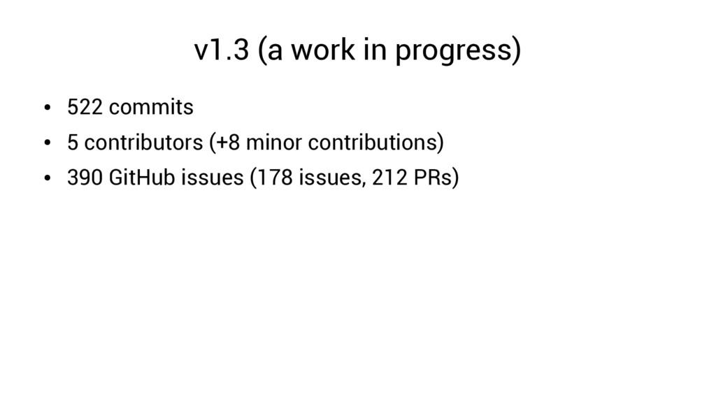 v1.3 (a work in progress) ● 522 commits ● 5 con...