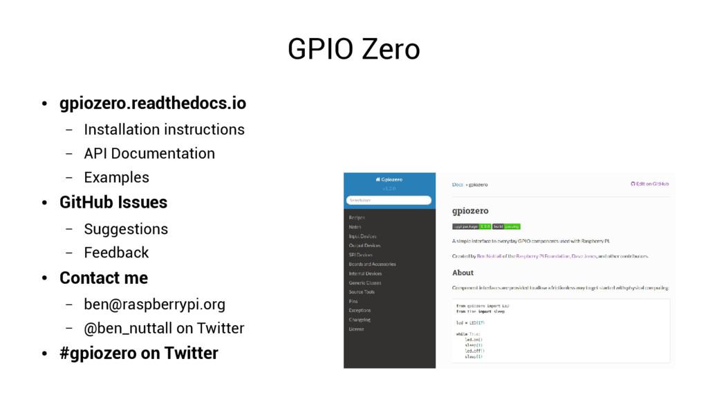 GPIO Zero ● gpiozero.readthedocs.io – Installat...