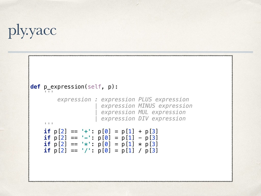 ply.yacc def p_expression(self, p):