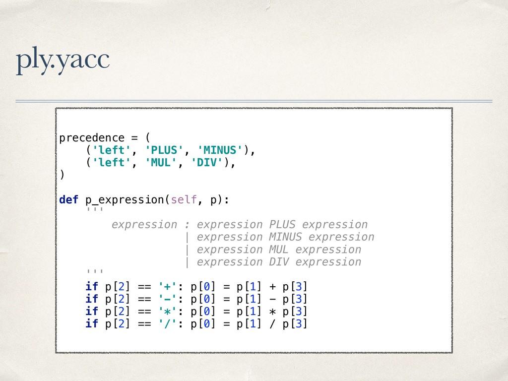 ply.yacc precedence = ( ('left', 'PLUS', 'MINU...
