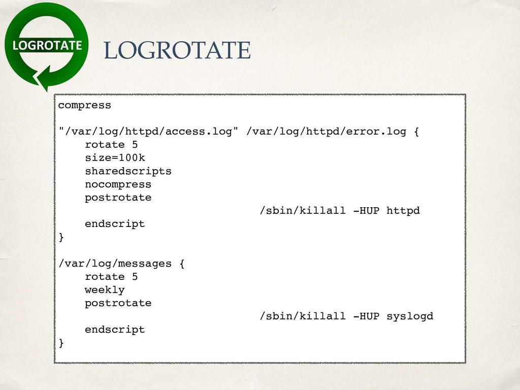 """LOGROTATE compress """"/var/log/httpd/access.log"""" ..."""