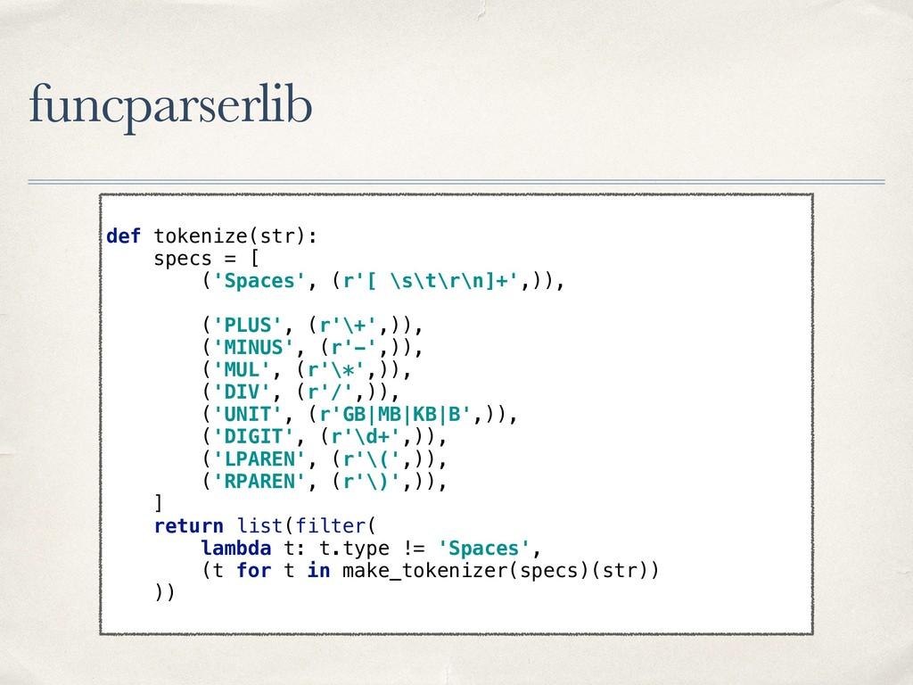 def tokenize(str): specs = [ ('Spaces', (r'[ ...