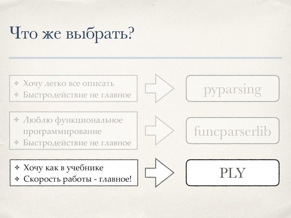 Что же выбрать? PLY funcparserlib pyparsing ✤ Х...