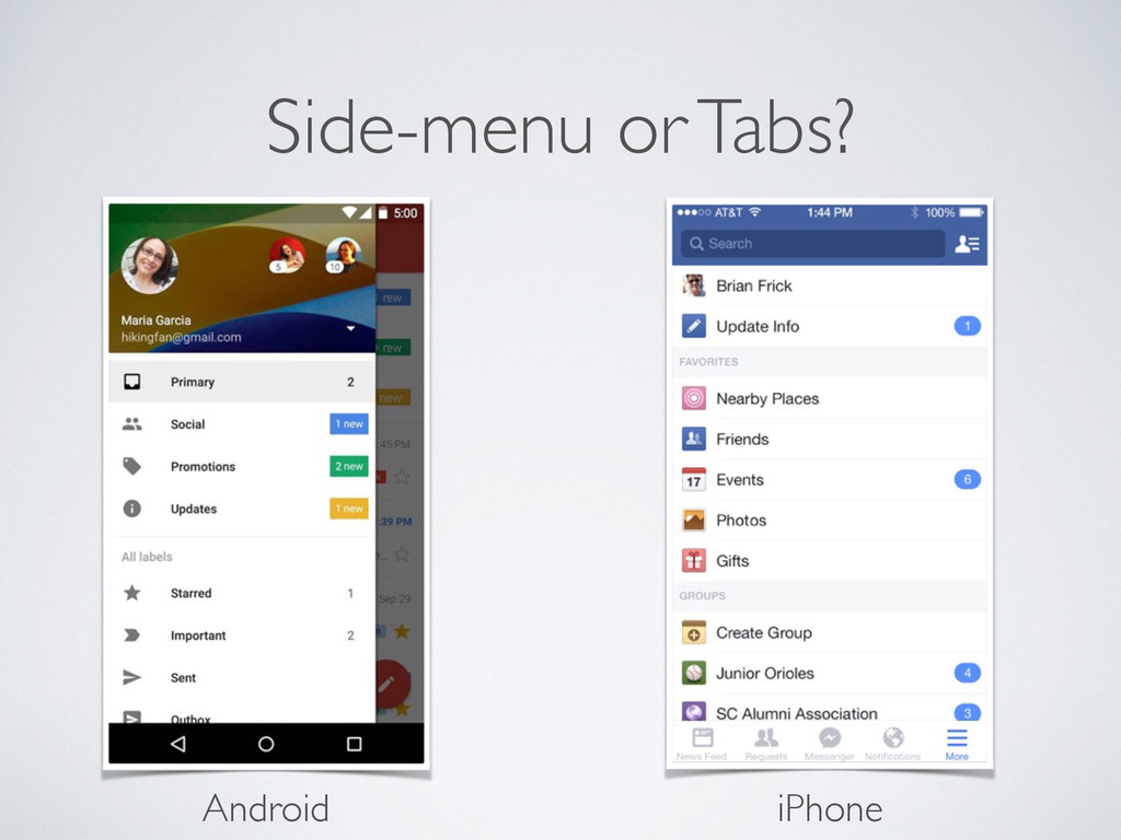 Side-menu or Tabs? Android iPhone
