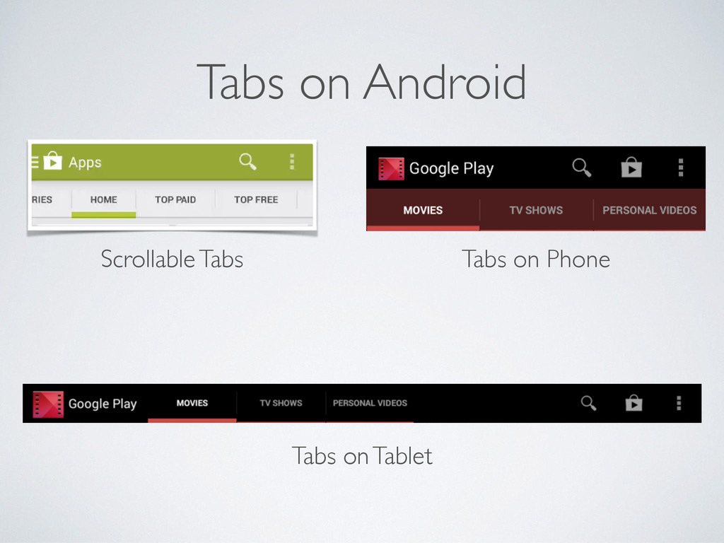 Tabs on Android Scrollable Tabs Tabs on Phone T...