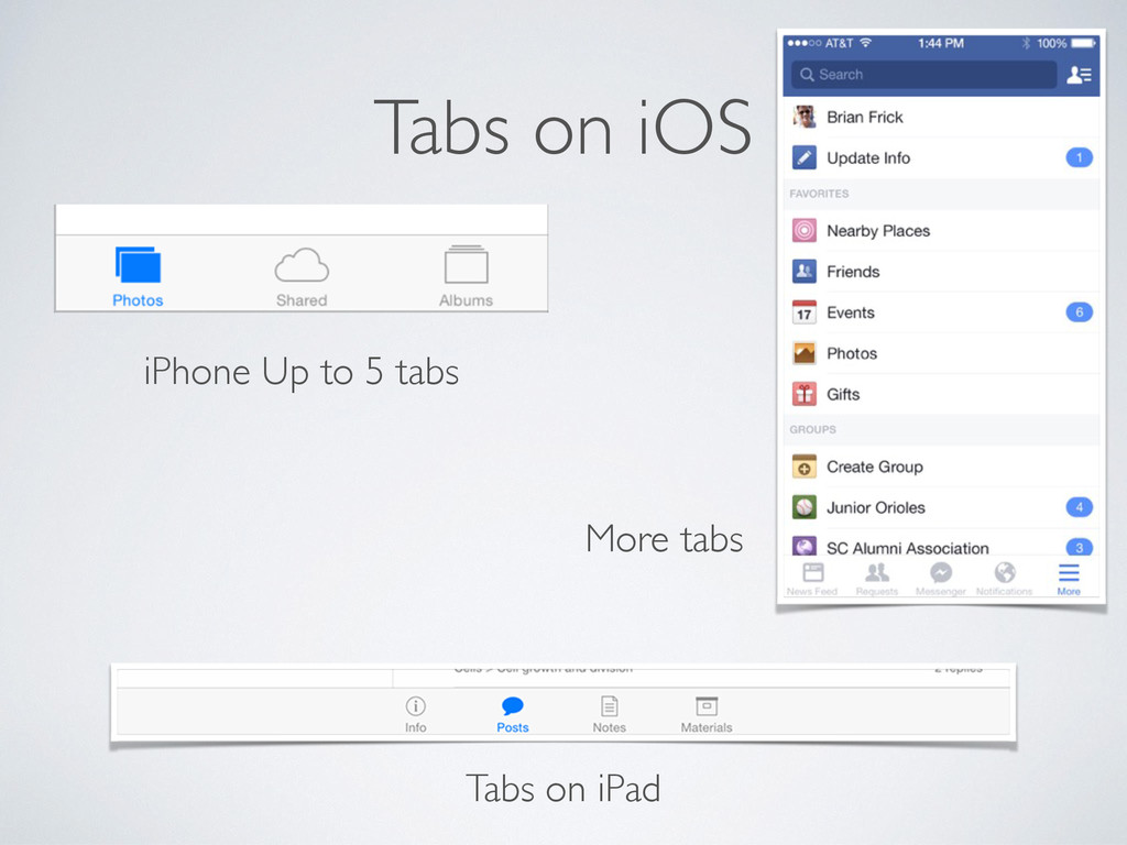 Tabs on iOS iPhone Up to 5 tabs More tabs Tabs ...