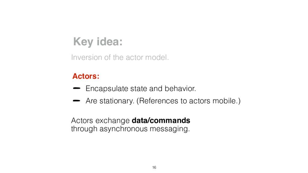 Key idea: Inversion of the actor model. Actors:...