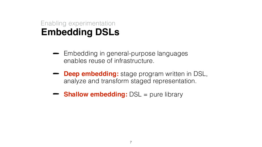 Embedding DSLs Enabling experimentation Embeddi...