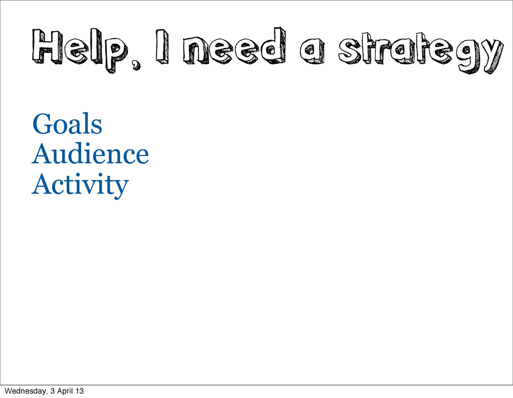 Help, I need a strategy Goals Audience Activity...
