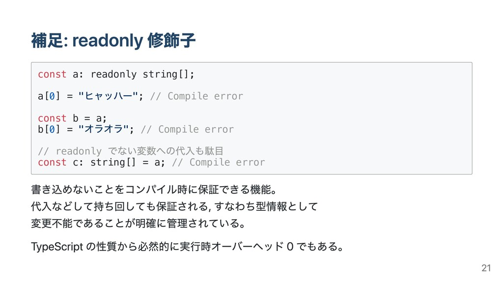 """const a: readonly string[]; a[0] = """" """"; // Comp..."""