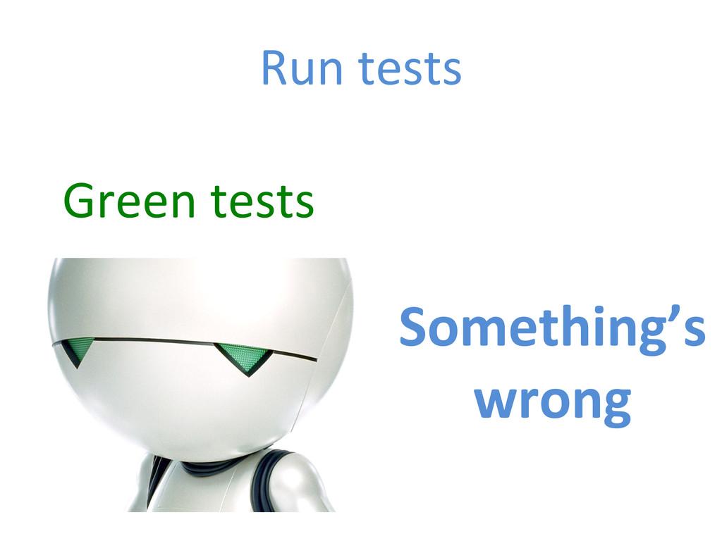 Run tests  Green tests  Something's...