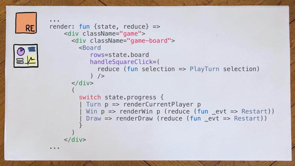 ... render: fun {state, reduce} => <div classNa...