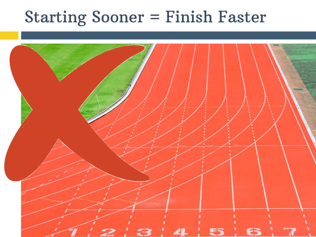 Starting Sooner = Finish Faster