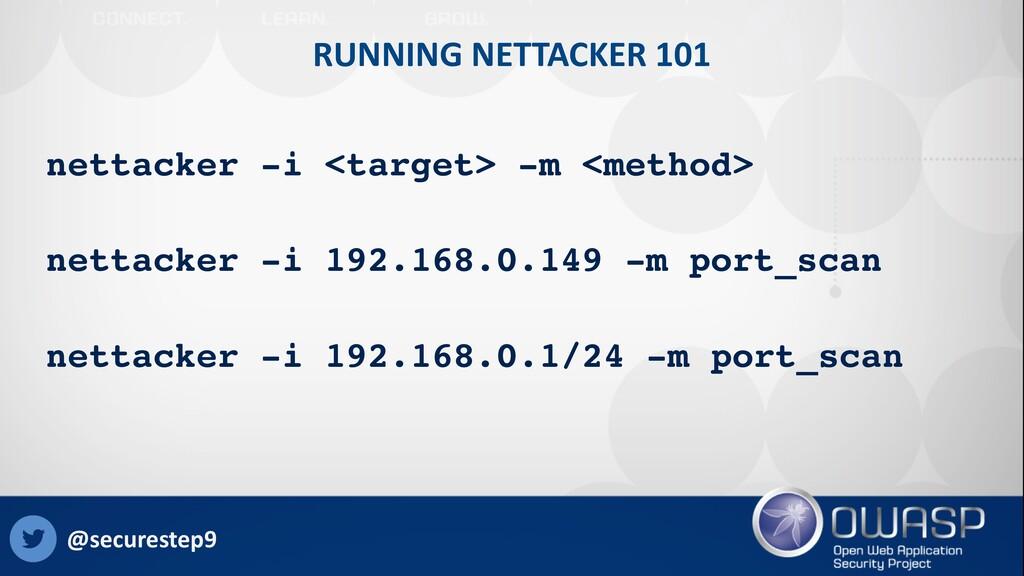 RUNNING NETTACKER 101 nettacker -i <target> -m ...