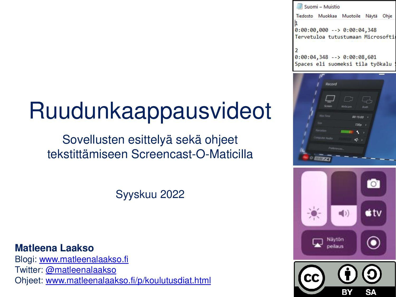 Ruudunkaappausvideot Sovellusten esittelyä sekä...