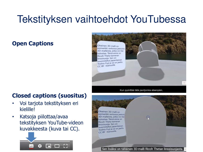 Tekstityksen vaihtoehdot YouTubessa Open Captio...