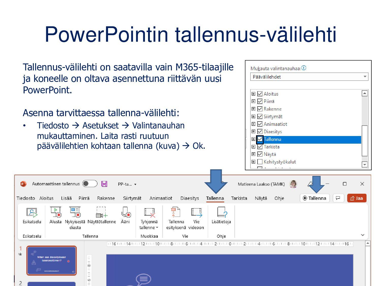 PowerPointin tallennus-välilehti Tallennus-väli...