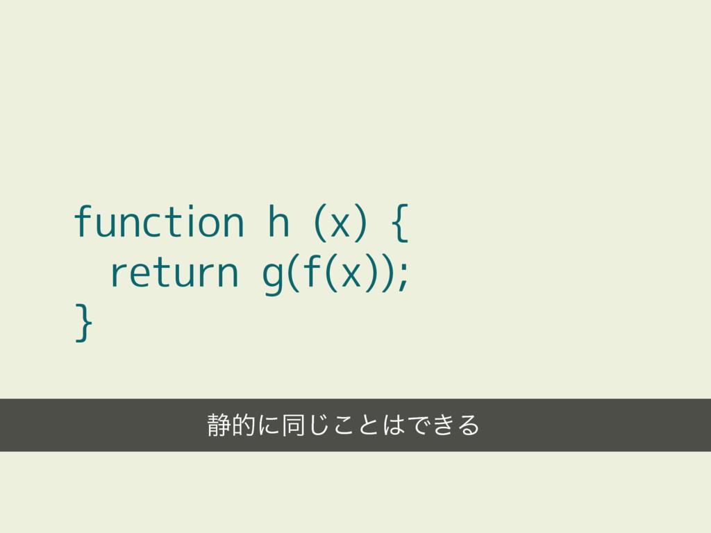 function h (x) { return g(f(x)); } ੩తʹಉ͜͡ͱͰ͖Δ