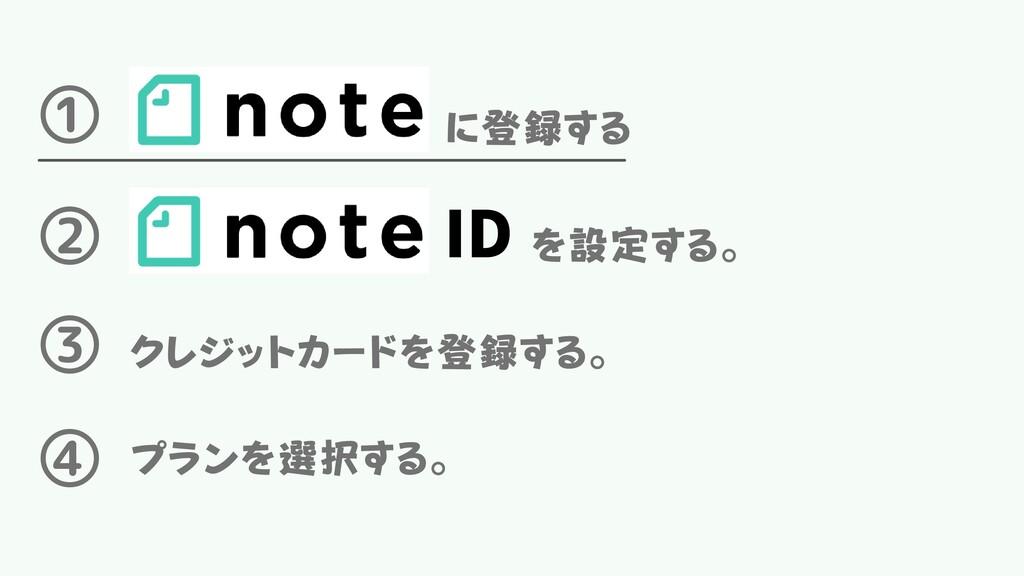 に登録する ① ② ID を設定する。 ③ クレジットカードを登録する。 ④ プランを選択する。