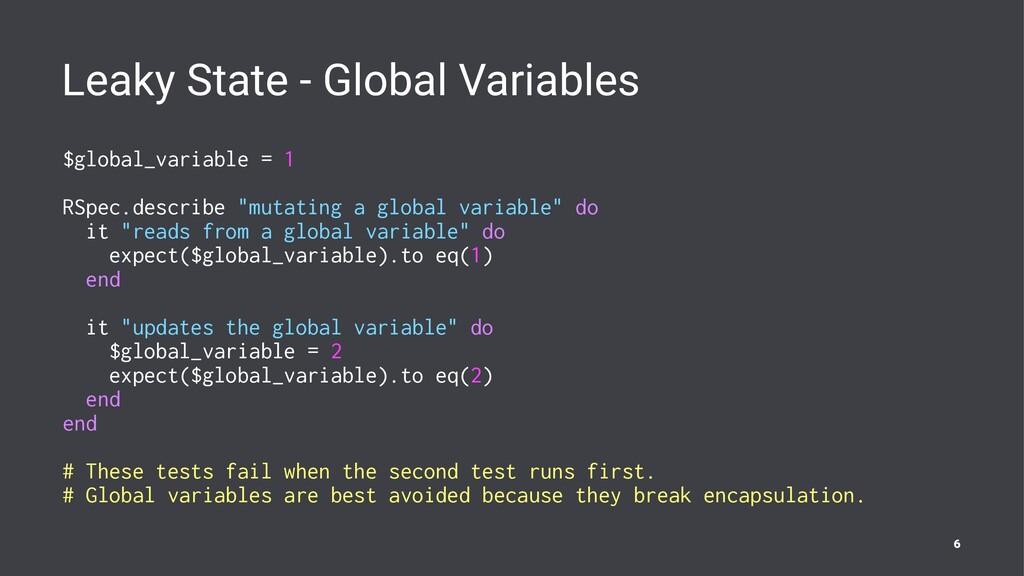 Leaky State - Global Variables $global_variable...