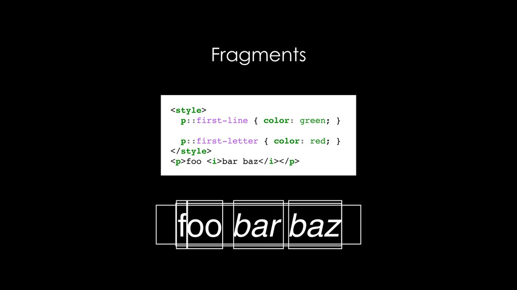 Fragments <style> p::first-line { color: green;...