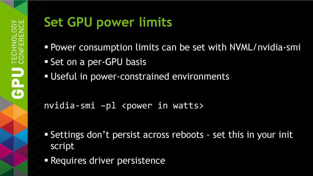 Set GPU power limits  Power consumption limits...