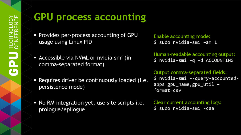 GPU process accounting  Provides per-process a...
