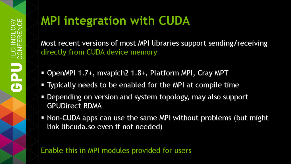 MPI integration with CUDA Most recent versions ...