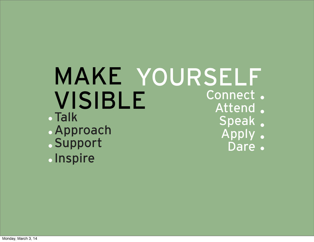 MAKE VISIBLE YOURSELF Connect Attend Speak Appl...