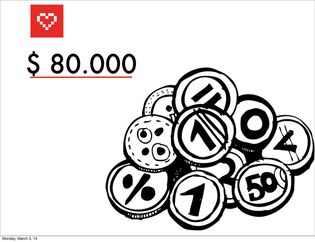 $ 80.000 Monday, March 3, 14