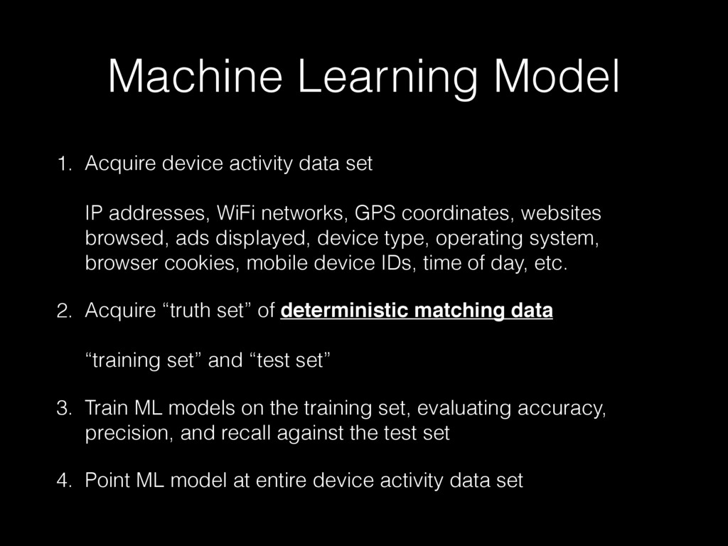 Machine Learning Model 1. Acquire device activi...