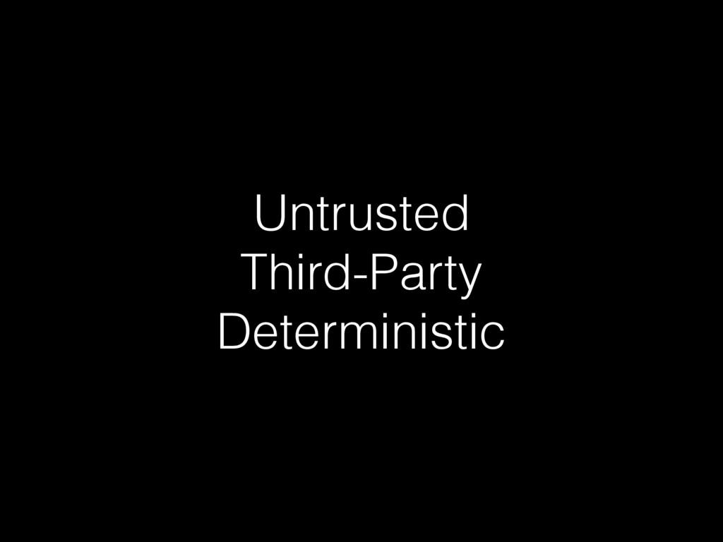 Untrusted Third-Party Deterministic