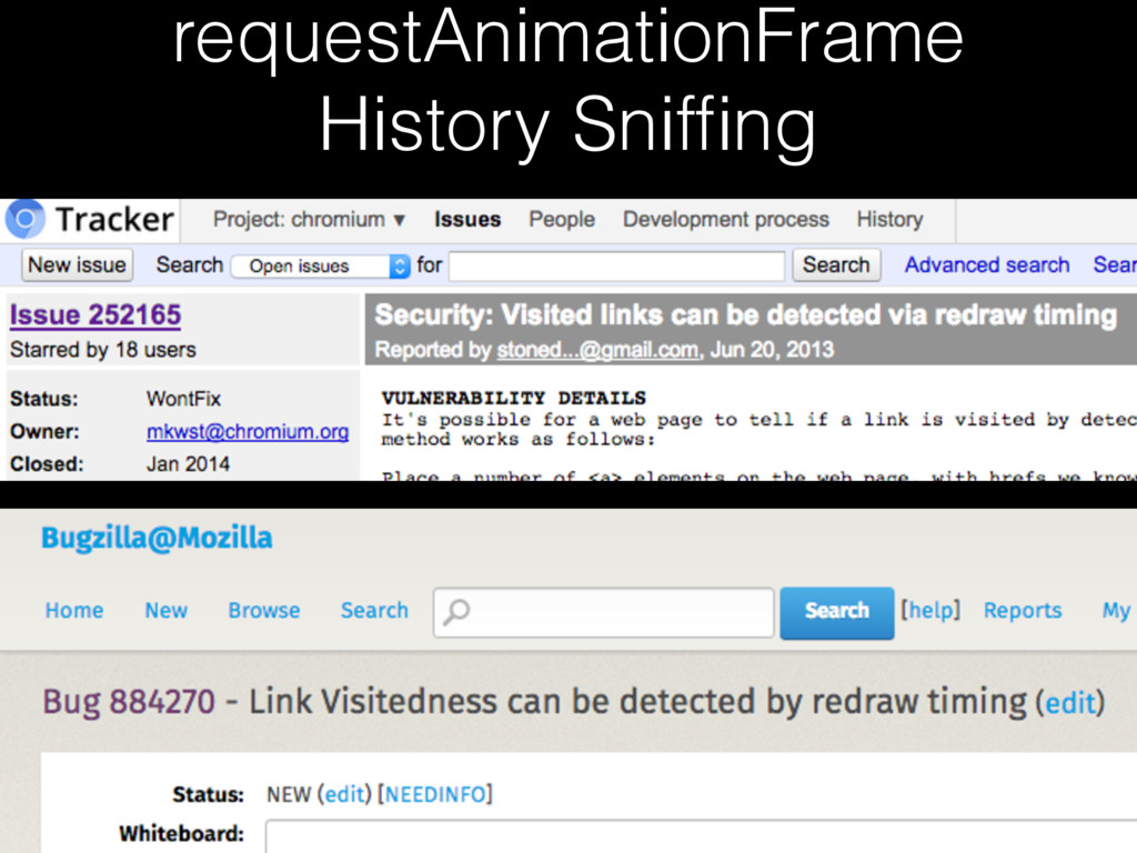 requestAnimationFrame History Sniffing