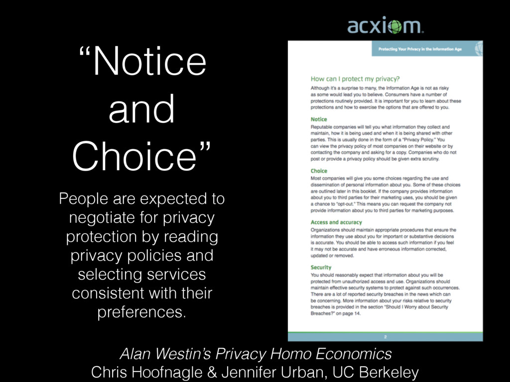 """Notice and Choice"" People are expected to nego..."