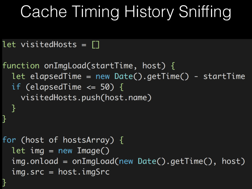 Cache Timing History Sniffing