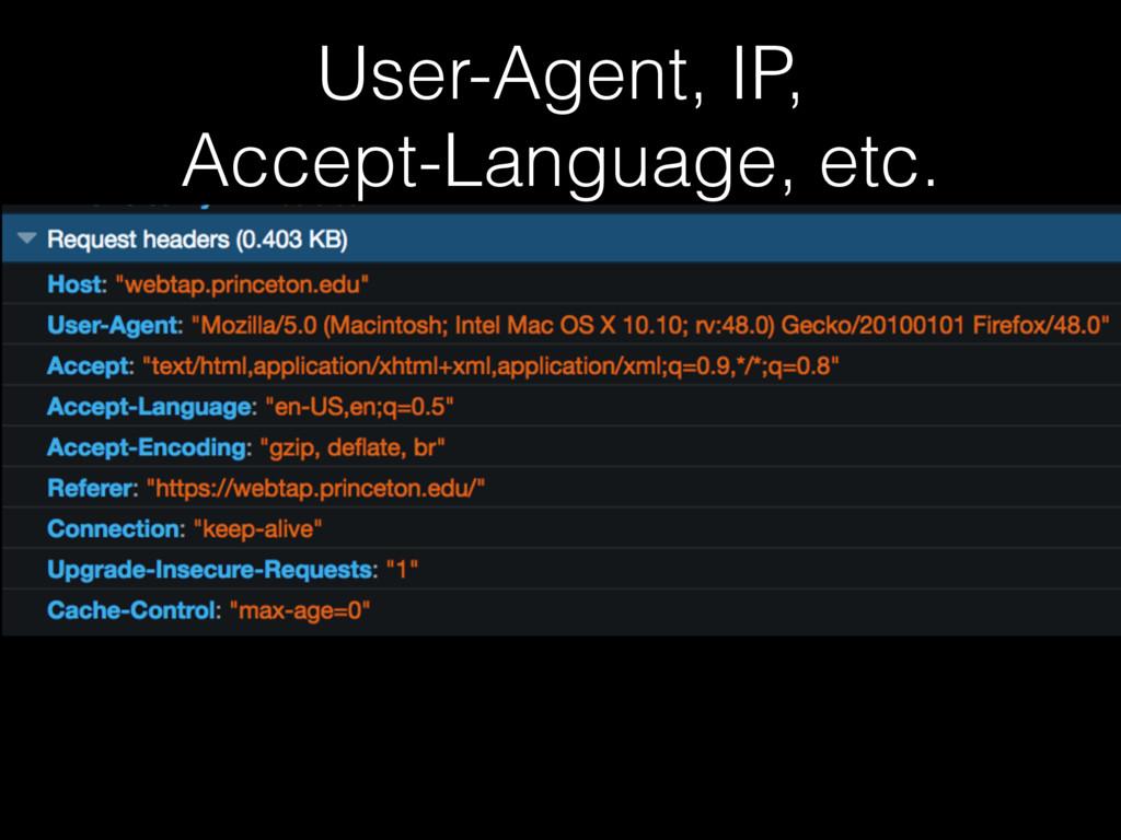 User-Agent, IP, Accept-Language, etc.