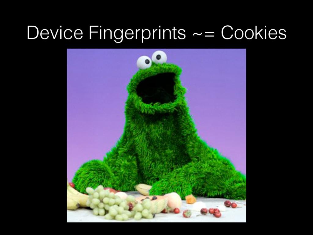 Device Fingerprints ~= Cookies